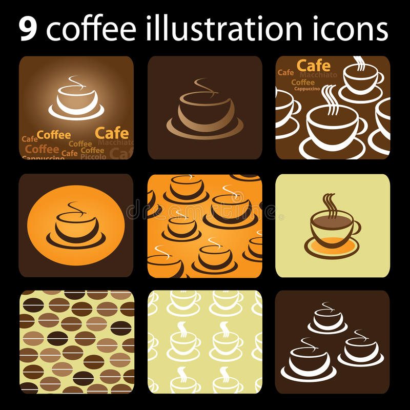 Free 9 Coffee Illustration Icons Royalty Free Stock Photography - 20549087