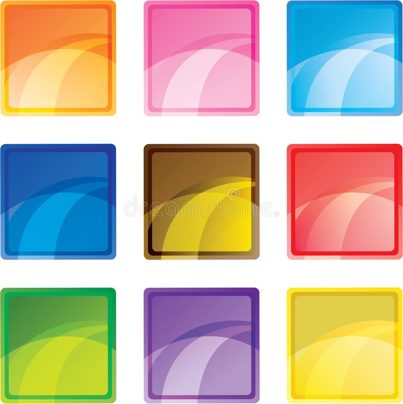 Download 9 colored square buttons stock vector. Illustration of glass - 23559374