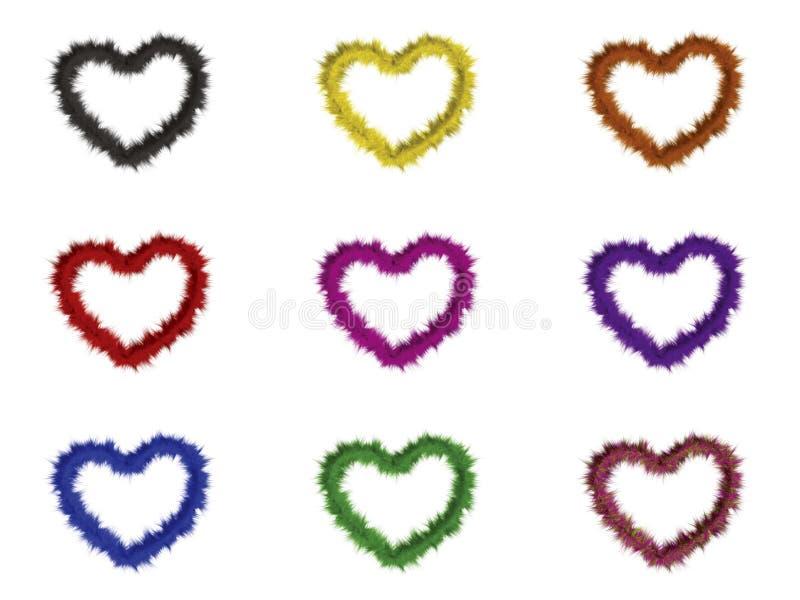 9 corações com cores diferentes ilustração do vetor