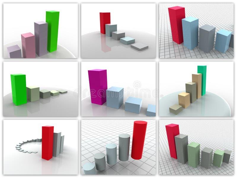 9 dimensionella scheman tre för collage vektor illustrationer