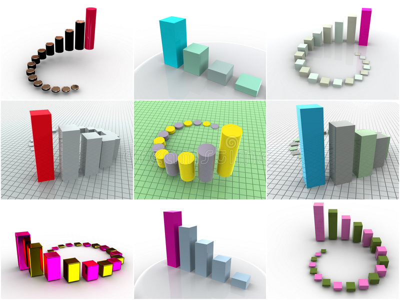 9 dimensionella symbolsscheman tre för collage royaltyfri illustrationer