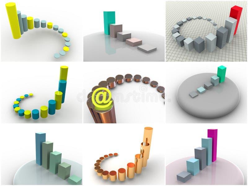 9 dimensionella symbolsscheman tre för collage stock illustrationer