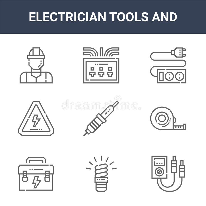 Free 9 Electrician Tools And Icons Pack. Trendy Electrician Tools And Icons On White Background. Thin Outline Line Icons Such As Royalty Free Stock Photo - 174316655