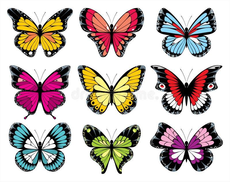 9 färgrika symboler för fjäril vektor illustrationer