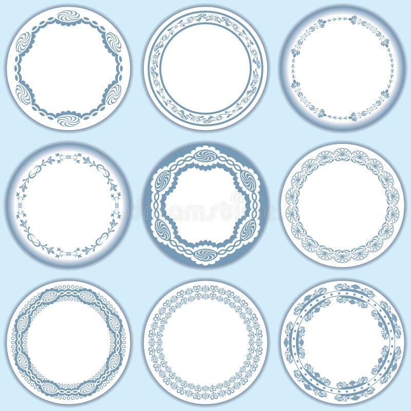Download 9 Feminine Blue Labels Set Stock Photo - Image: 15524450