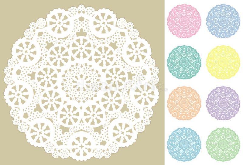 9 filigree doilies snör åt pastell royaltyfri illustrationer
