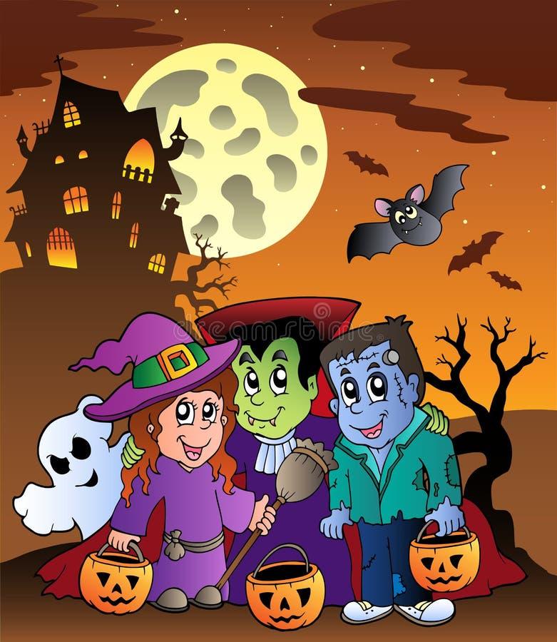 9 Halloween dworu scena ilustracja wektor