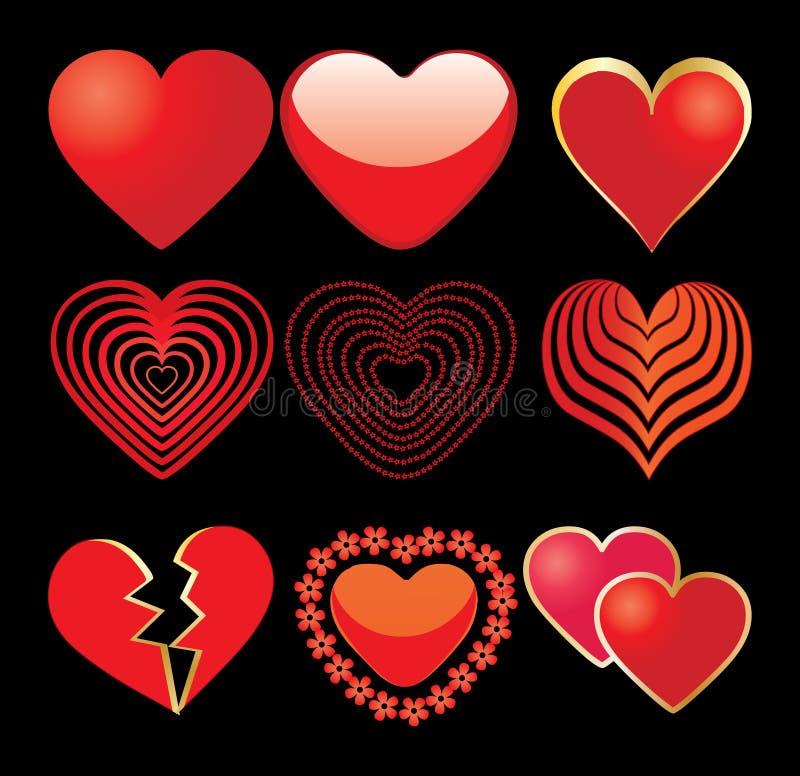 9 hearts stock photos