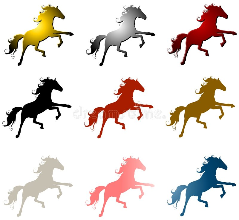 9 Horse Stallions Clip Art stock illustration