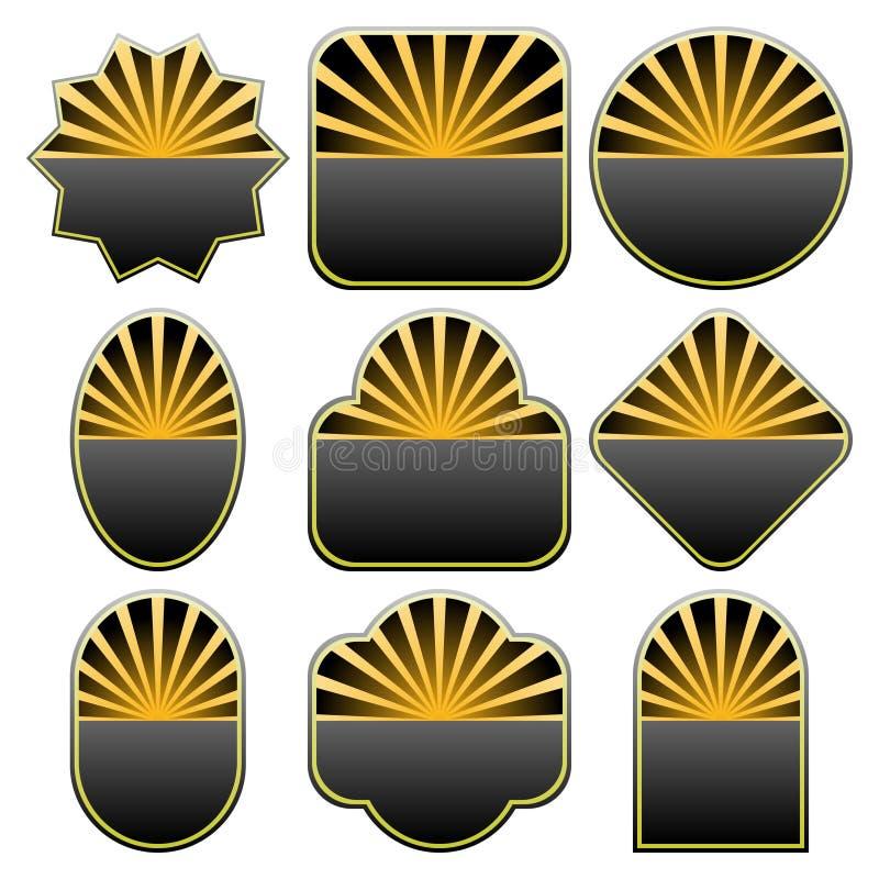 9 inställda emblemdesigner stock illustrationer