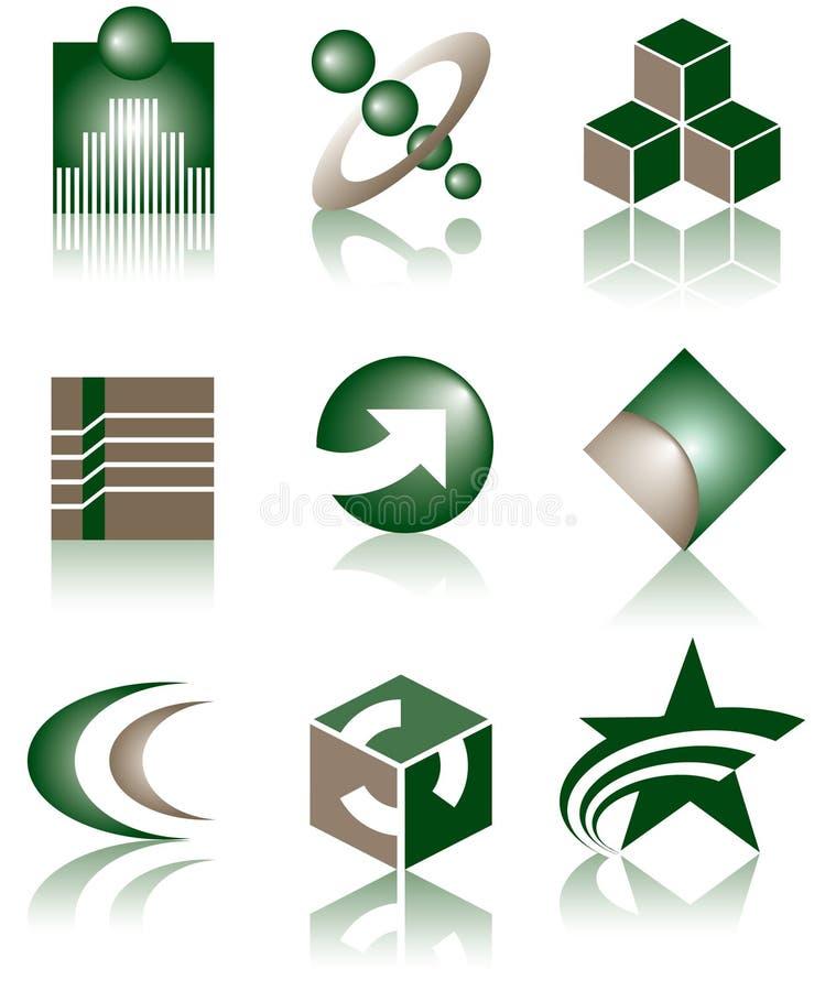 9 inställda logoer stock illustrationer