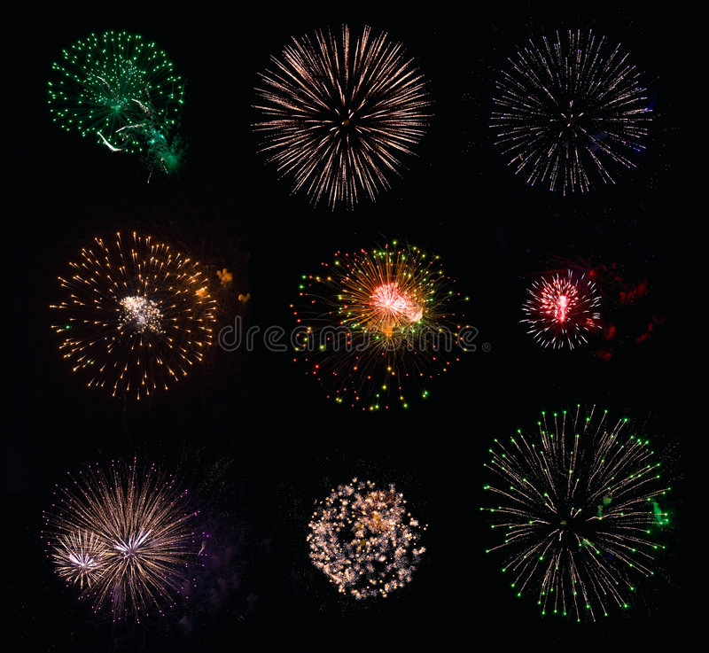 Free 9 Isolated Fireworks Collection Stock Photo - 9087570