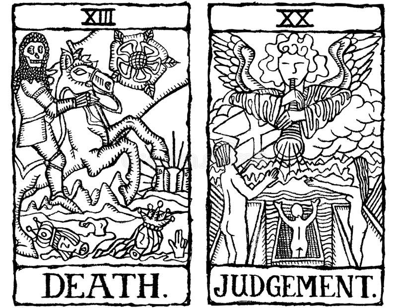 9 kart konturu tarot dwa v ilustracja wektor
