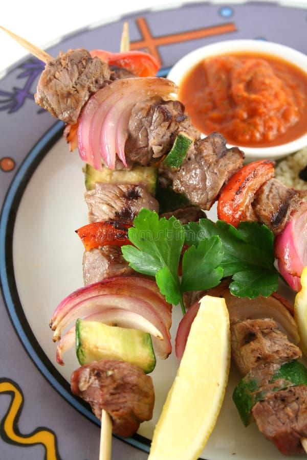 9 kebabs говядины стоковое изображение
