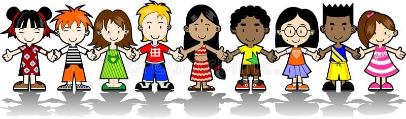 9 Kids holding hands vector illustration