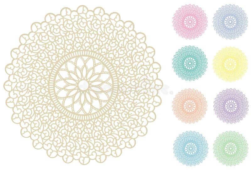 9 kolorów doily kolor koronkowy pastelowy round ilustracja wektor
