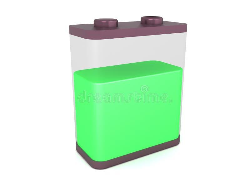 9 laddning (för nio) volt genomskinlig battericell royaltyfri illustrationer