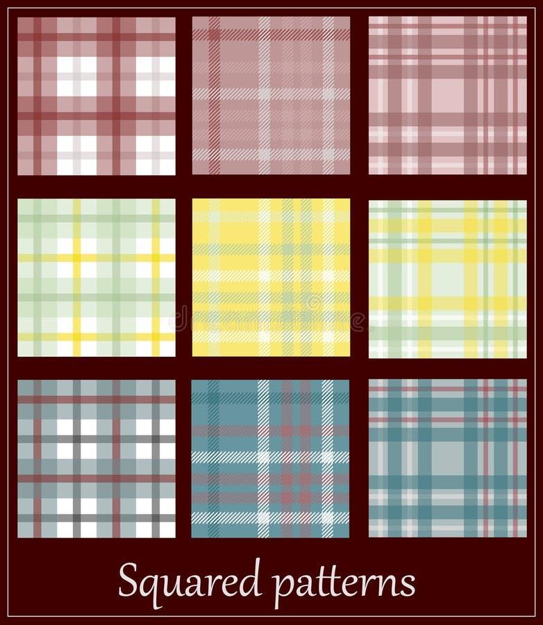 9 modelos de la tela escocesa. stock de ilustración