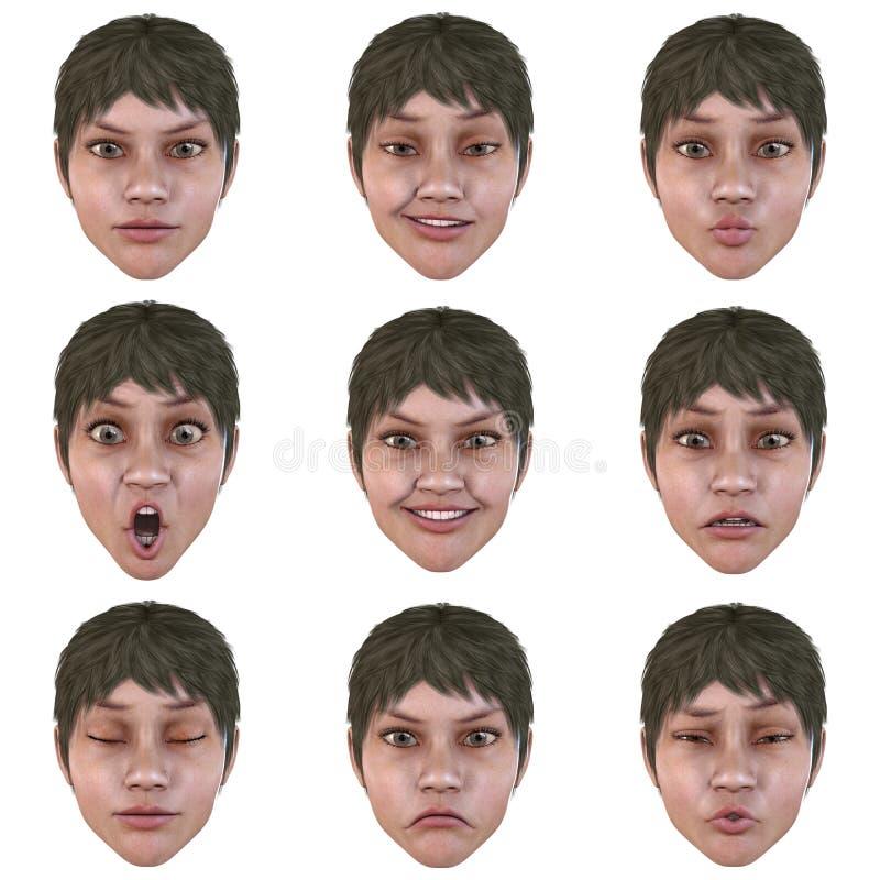 9 (neuf) émotions avec un visage illustration libre de droits