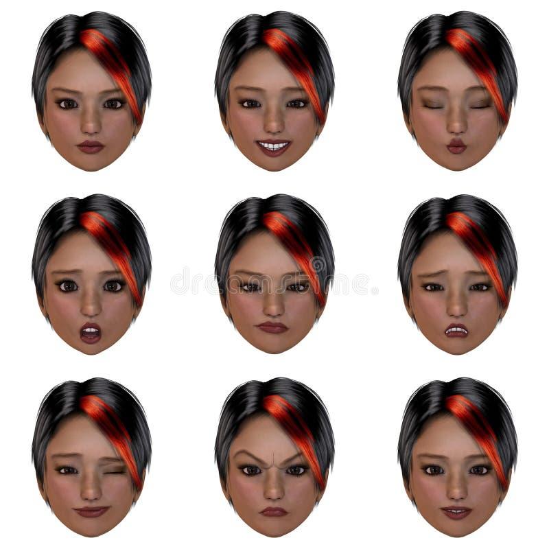 9 (nove) emoções com uma face ilustração royalty free