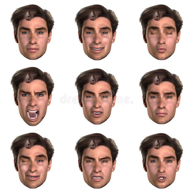 9 (nove) emoções com uma face ilustração do vetor