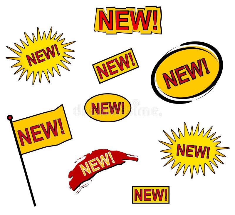 9 nuevos iconos o botones del Web stock de ilustración