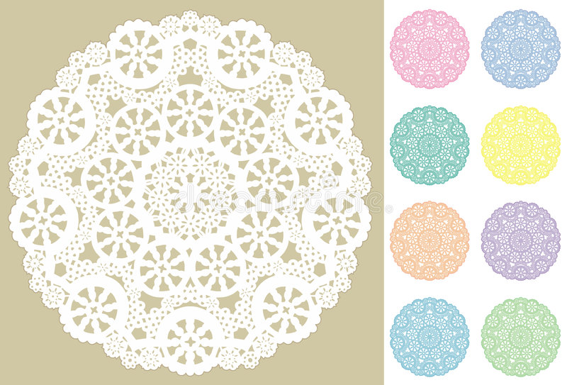 Lace Doily Placemats, 9 Pastel Filigree. Antique lace doilies in white plus 8 pastel colors for decorating, sewing, celebrations, arts, crafts, setting table and royalty free illustration