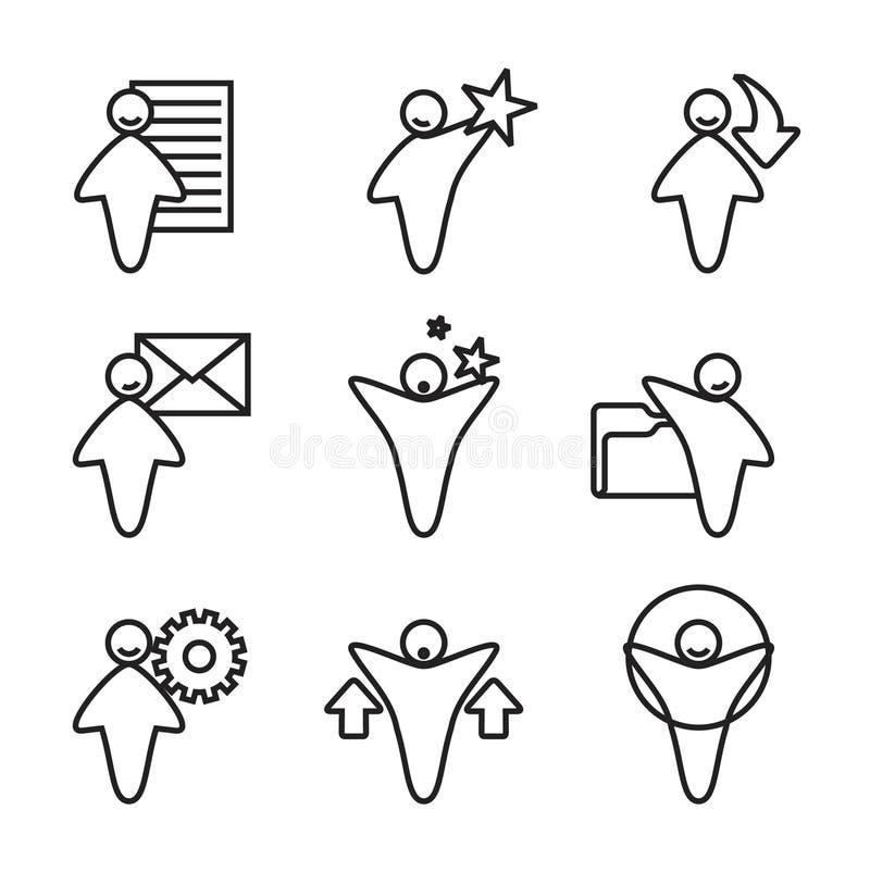 9 pictogrammen royalty-vrije illustratie