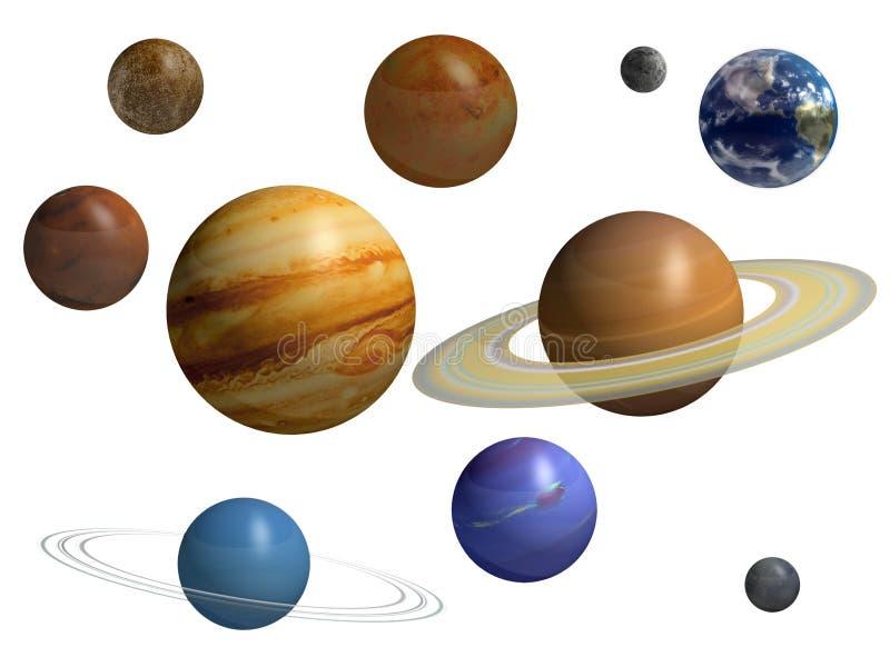 9 planet vektor illustrationer