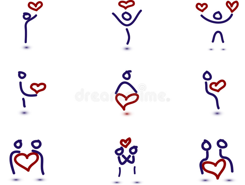 9 povos no amor ilustração stock