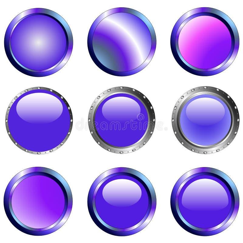 9 Purple Web Buttons stock illustration