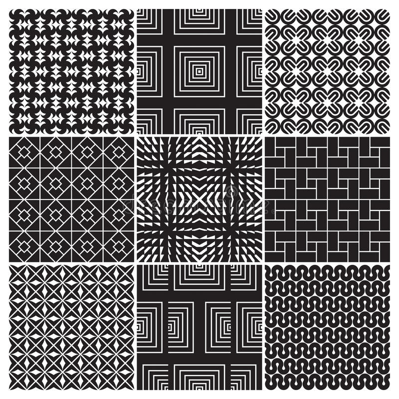 9 seamless monochrome patterns (vector) royalty free illustration