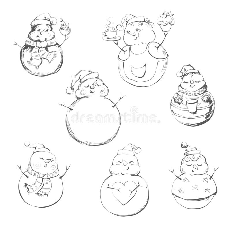 Free 9 Snowmen Isolated On White Background. Cute Cartoon Snowmen In Vector For Winter Design. Stock Images - 159785014