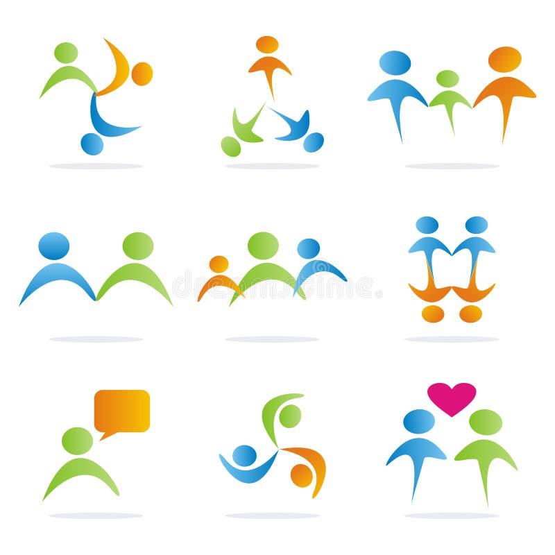 9 symboles de gens de logo illustration libre de droits