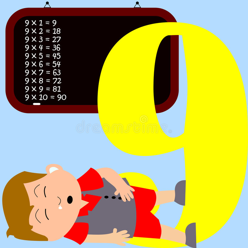 9 ungenummerserie stock illustrationer