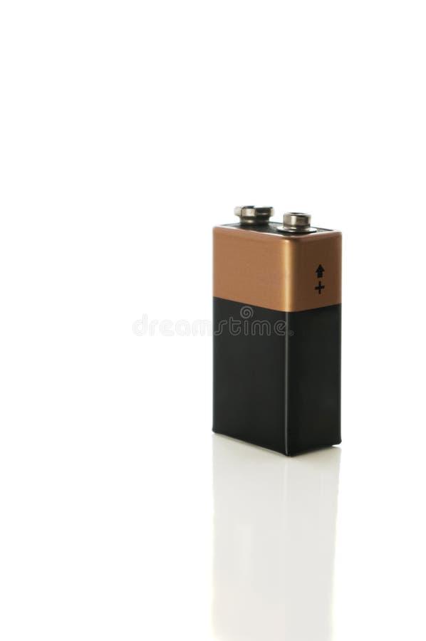 9 voltbatterij op wit met het knippen van weg royalty-vrije stock afbeeldingen