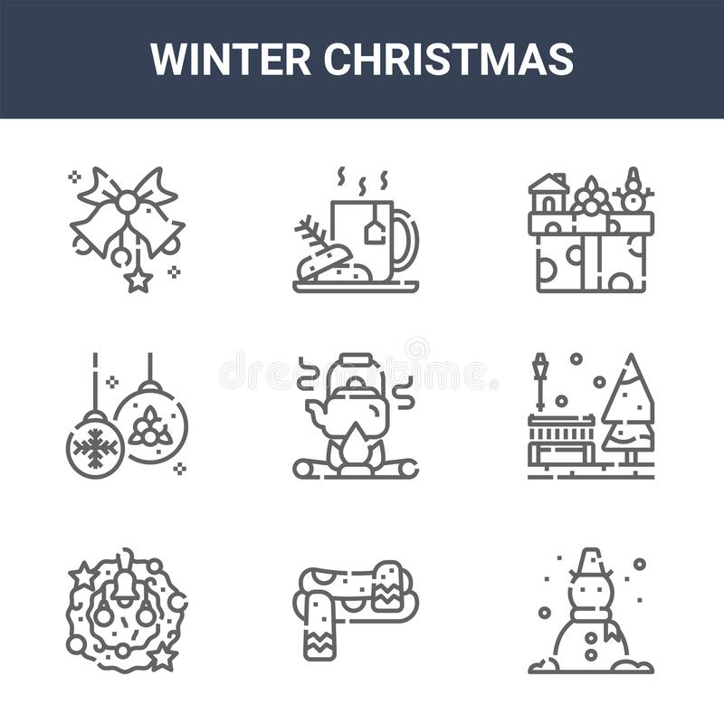 Free 9 Winter Christmas Icons Pack. Trendy Winter Christmas Icons On White Background. Thin Outline Line Icons Such As Snowman, Bench, Royalty Free Stock Images - 174313669