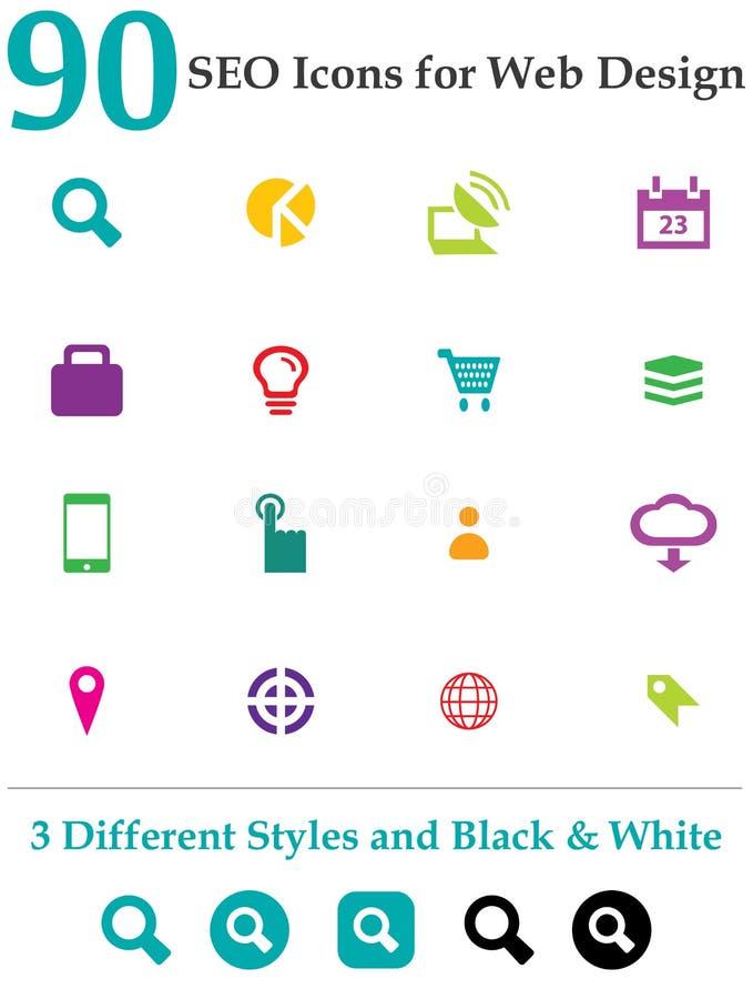 90 Seo Icons for Web Design royalty free illustration
