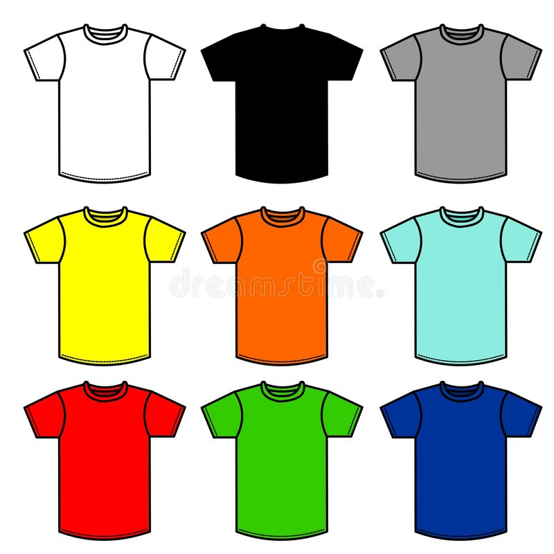 90 shirts. Nine T-Shirts of different colors