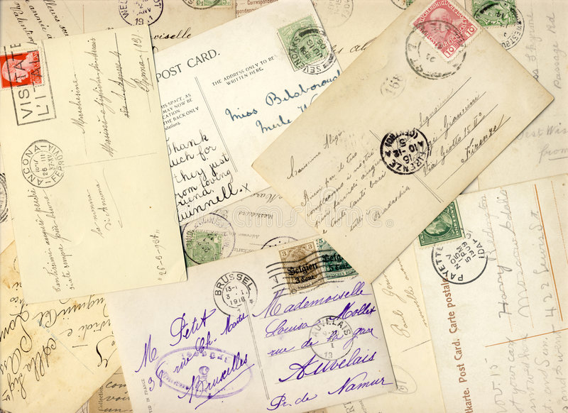 900 tidiga vykort arkivfoton