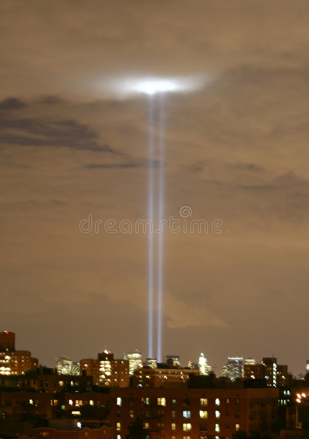 911 Anniversary Blue Light Towers stock image