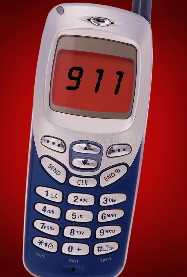 Download 911 call on cell phone stock image. Image of phone, emergency - 13129835