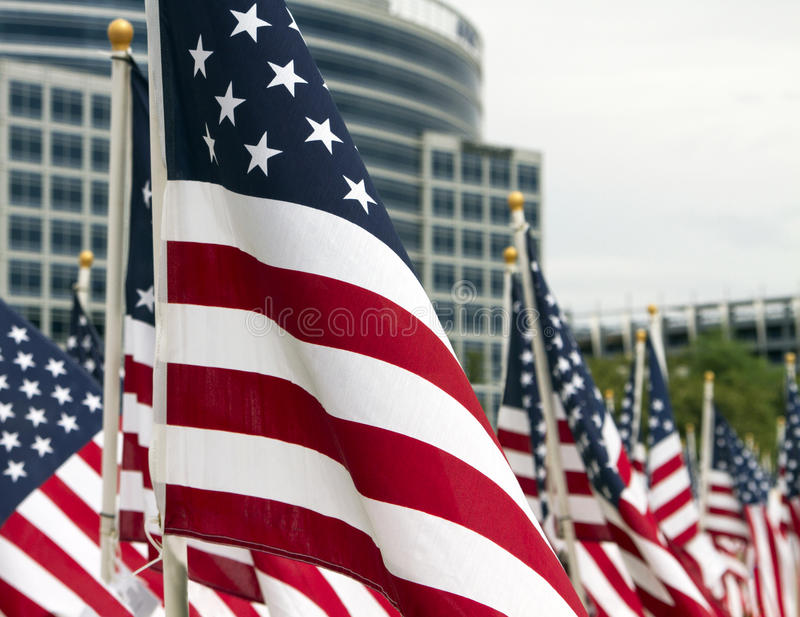 911 Day United States Patriotic Memorial Day Flags Royalty Free Stock Image