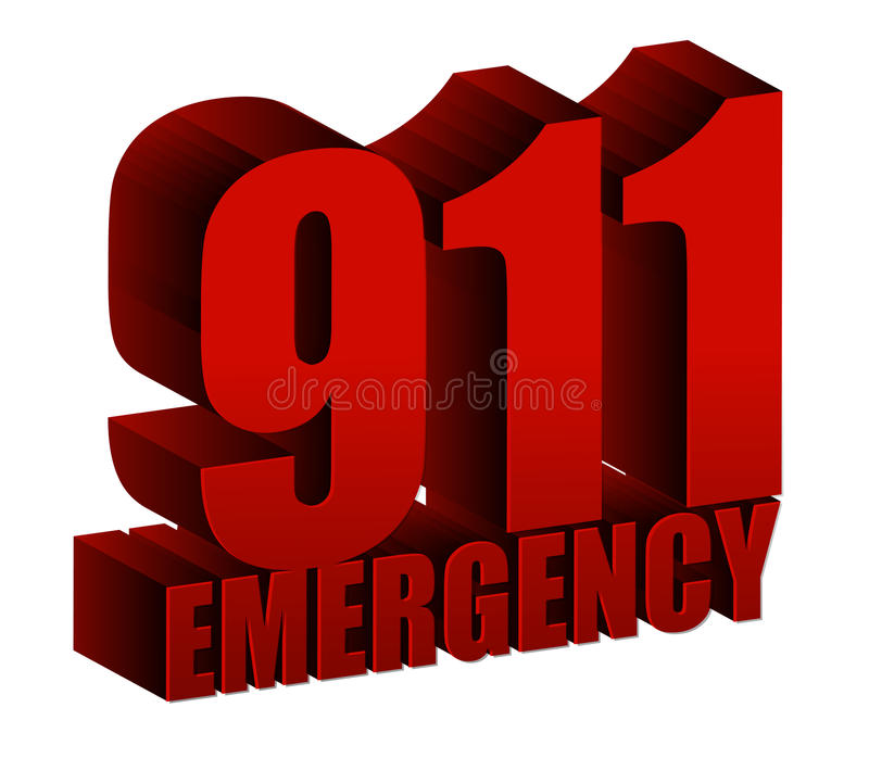 911 Emergency text royalty free illustration