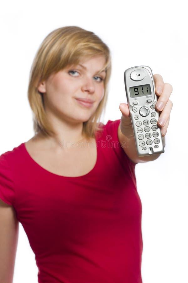 911 skärmhåll phone uppvisning av kvinnan arkivfoton