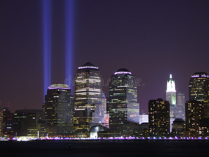 Download 911 Tribute in Lights stock image. Image of beam, september - 5700901