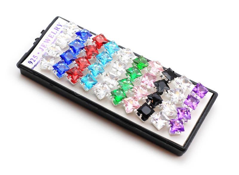 925 örhängen för Sterlng silverkristall royaltyfri foto