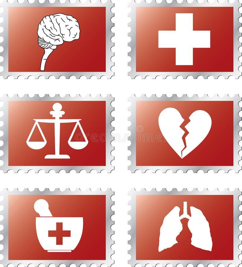92b ustaleni medycyna znaczki royalty ilustracja