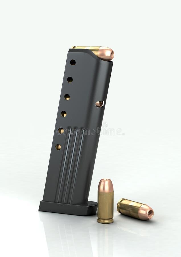 9mm tijdschrift met kogels stock fotografie