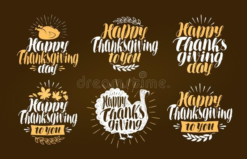 Ação de graças feliz, grupo de etiqueta Símbolo ou logotipo do feriado Ilustração do vetor da rotulação ilustração do vetor